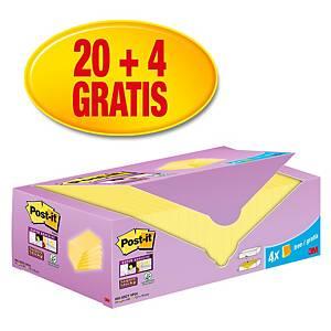 Pack promo Post-it® Super Sticky Notes, jaune canari, 76 x 76 mm, 20+4 GRATUITS