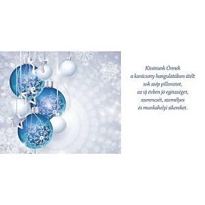 Újévi képeslap - Kék díszek csillagokkal, 20 x 10 cm
