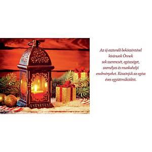 Újévi képeslap - Dekoráció lucernával, 20 x 10 cm