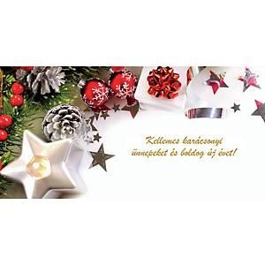 Újévi képeslap - Fenyőfa fehér csilagokkal, 20 x 10 cm