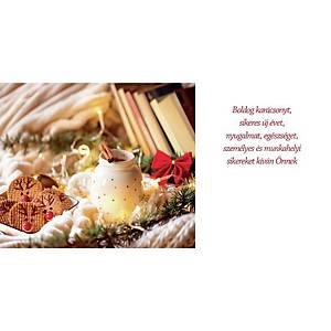 Újévi képeslap - Piros fenyőfa, 20 x 10 cm