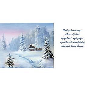 Újévi képeslap - Házikó, 20 x 10 cm