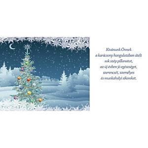 Újévi képeslap - Karácsonyfa csillagokkal, 20 x 10 cm
