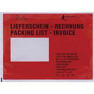 Dokumententaschen C6, mit Aufdruck Lieferschein / Rechnung, 250 Stück
