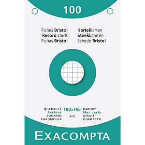 Cartes système Exacompta, carreaux, perforées, 100x150mm, blanches, 100 fiches