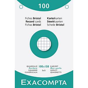 Exacompta systeemkaarten, geruit, geperforeerd, 100 x 150 mm, wit, 100 fiches