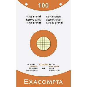 Cartes système Exacompta, carreaux, perforées, 125x200mm, 4 couleurs, 100 fiches