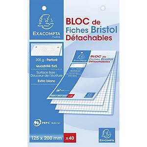 Cartes système Exacompta, carreaux, perforées, 125x200mm, blanches, 40 fiches