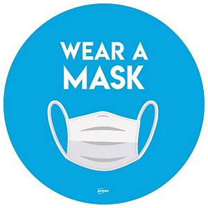 Wear a Mask 275mm Circular Self-Adhesive Signs, Pack of 2
