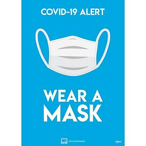 Wear a Mask A4 Self-Adhesive Signs, Pack of 2