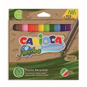 Carioca ECO Jumbo viltstiften, 6 mm, assorti kleuren, pak van 12 stiften