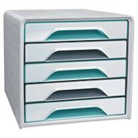 Module de classement Cep Smoove Riviera - 5 tiroirs - blanc/multicolore