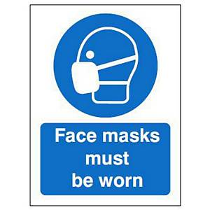 Face Coverings Sign 200x300MM Self Adhesive Vinyl