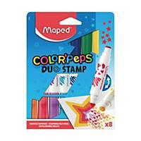 Flamastry/stemple MAPED DUOSTAMP, 8 kolorów