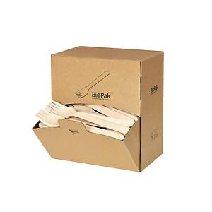Biopak vork gewaxt hout, L 16 cm, pak van 300 vorken