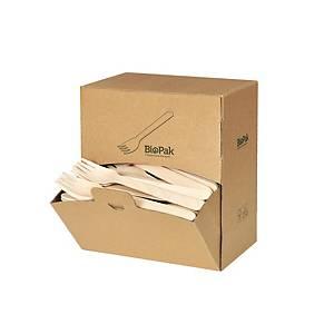 Fourchette en bois ciré Biopak, L 16 cm, le paquet de 300 fourchettes