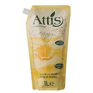 Attis Mézes és tejes folyékony szappan, 1 l