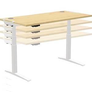 Bureau réglable en hauteur Fellowes Levado TM, L 160 x P 80 cm, érable/blanc