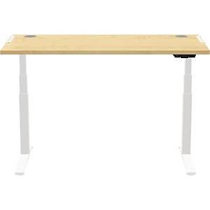 Bureau réglable en hauteur Fellowes Levado TM, L 180 x P 80 cm, érable/blanc