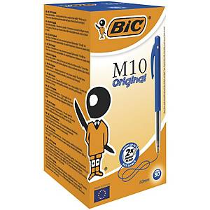 Bic Clic Retractable Ball Point Blue Pens 0.3mm Line Width - Box of 50
