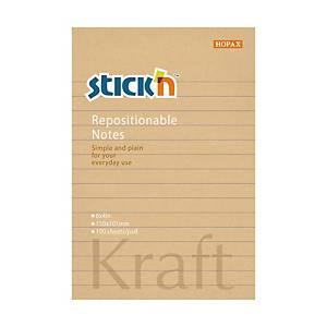 STICK N Kraft by Hopax öntapadó jegyzettömb, 150 x 101 mm, vonalas