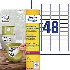 Etiketten Avery Zweckform L4778, 45.7x21.2 mm, wasserf.&ablösb., weiss, Pk. 960