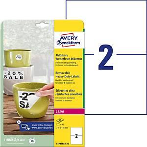 Étiquette Avery Zweckform L4717, 210x148 mm, étanche et amovible, blanc, 40 p.