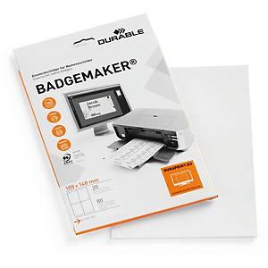 Einsteckschilder Durable Badgemaker 142002, 105x148 mm, weiss, Packung à 80 Stk.