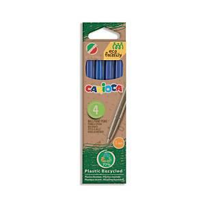 Carioca Eco Family Assorted balpennen, 4 kleuren, pak van 4 pennen