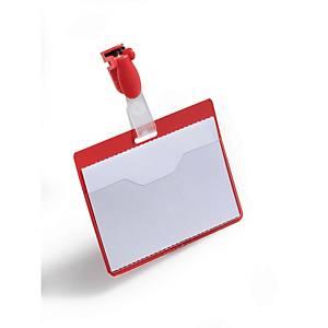 Porte-nom Durable 8106-03, 60x90mm, avec clip, paysage, rouge, pack de 25 pièces
