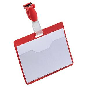 Name tags Durable 8106-03, 60x90 mm, with clip, landscape, red, pack of 25 pcs.
