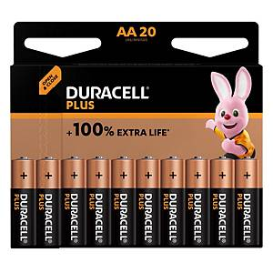 PK20 DURACELL PLUS 100% BATTERY AA