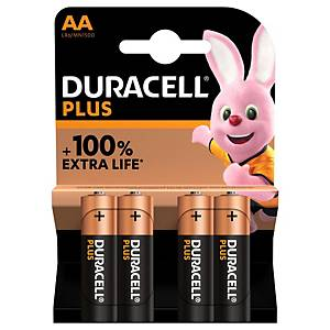 PK4 DURACELL PLUS 100% BATTERY AA