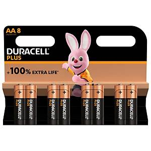 Duracell Plus 100%  AA, per 8