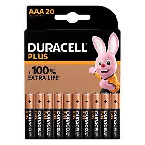 Duracell Plus 100%  AAA, par 20