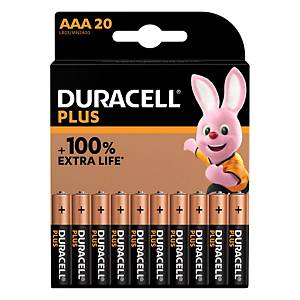 PK20 DURACELL PLUS 100% BATTERY AAA
