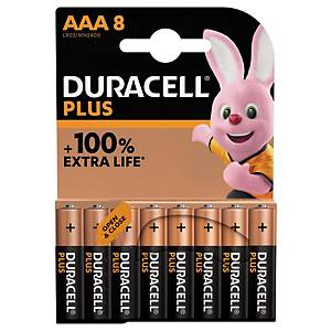 Duracell Plus 100%  AAA, per 8