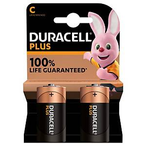 PK2 DURACELL PLUS 100% BATTERY LR14/C