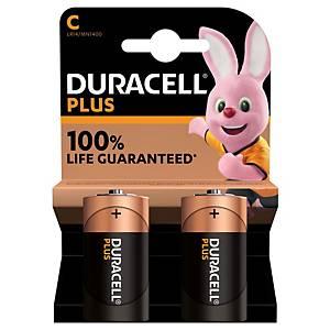 Duracell Plus alcaline batterijen, 100% LR14/C, per 2