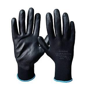 Rękawice M-GLOVE, PU1001 czarne, rozmiar 10, 12 par