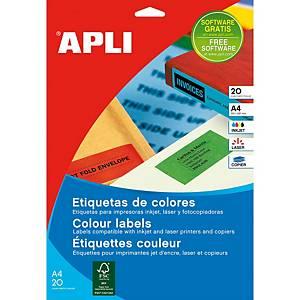 Pack de 20 hojas etiquetas apli  - amarillo - 210 x 297 mm