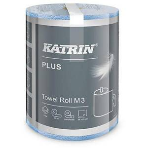 Katrin Plus 58037, Papierhandtücher in Rolle, M3, 3-lagig, 55 m, blau