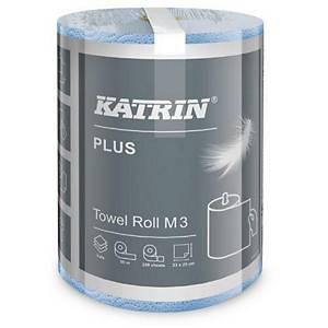 Katrin Plus 58037 tekercses papírtörlőkendő, M3, 3 rétegű, 55 m, kék