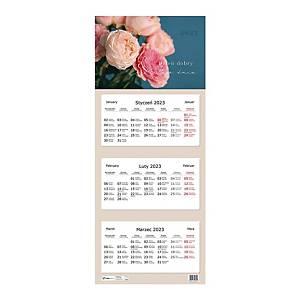 Kalendarz trójdzielny INTERDRUK, kwiaty