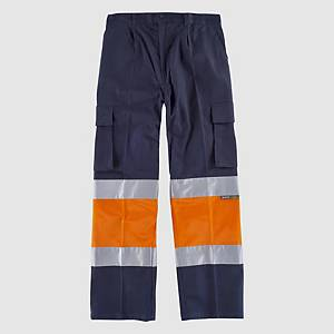 Calças de alta visibilidade Workteam C4019 - laranja/azul - tamanho 56