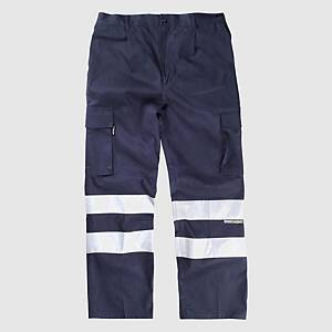 Calças multibolsos alta visibilidade Workteam B1447 - azul marinho - tamanho 52