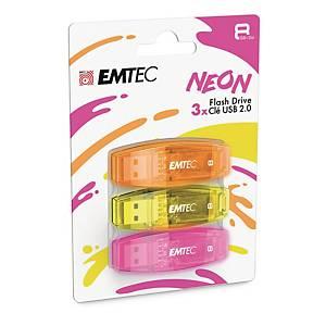 Memoria USB Emtec Color Mix C410 8 GB 2.0 colori neon - conf. 3