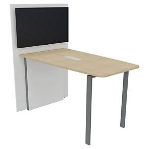Ensemble table haute rectangulaire et TV Box Buronomic - L 180 cm - chêne/alu