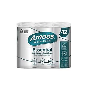 Pack de 12 rolos de papel higiénico Amoos - Essential - 24 m