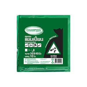 CHAMPION ถุงขยะเปียก ขนาด 30x40  สีเขียว แพ็ค 10
